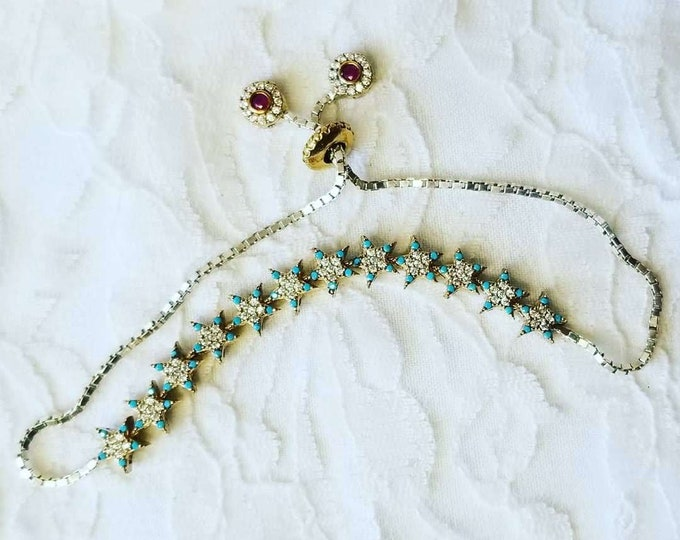 Delicate and Beautiful Star Bracelet ~ White Topaz, Turquoise, Ruby ~ Sterling Silver and Brass ~ Adjustable ~ Made in Istanbul