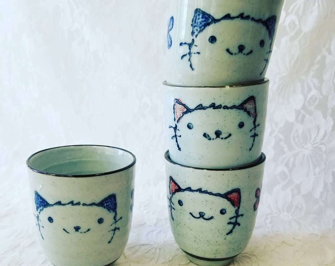 Set of Four (4) Japanese Saki Cups ~ Blue & Pink on Greyish Blue ~ Lucky Cat Design