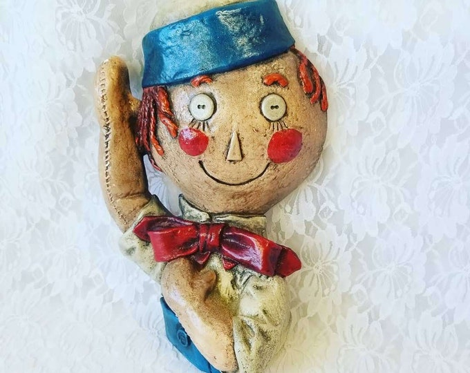 Creepy 1970s Chalkware Clown Raggedy Andy? Wall Hanging ~ Weird and Creepy ~ Plaster Chalkware ~ Hand Painted