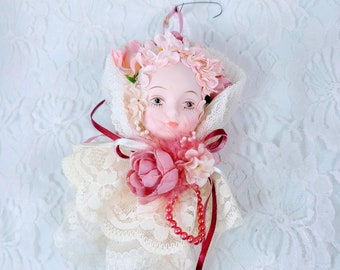 Antique Victorian Tassel Porcelain Doll Head Ornament ~ Victorian Christmas ~ Doll Collection ~ Antique Doll Head