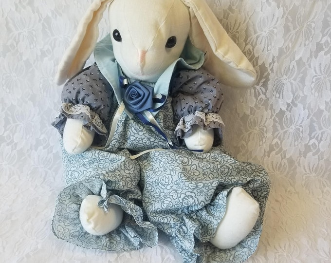 "Handmade 1980s 20"" Big Blue OOAK Cloth Bunny Rabbit Hare Girl Doll ~ Grandma Style ~ Textile Rag Doll"