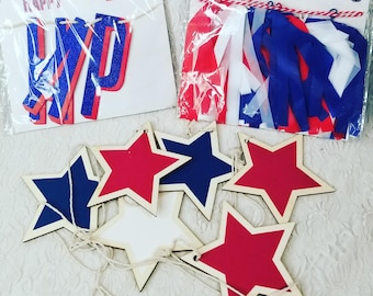 Destash Craft Supplies Set of 3 Packs of Fourth of July Garland and Tassels ~ Red, White and Blue Colored Paper and Wood Stars