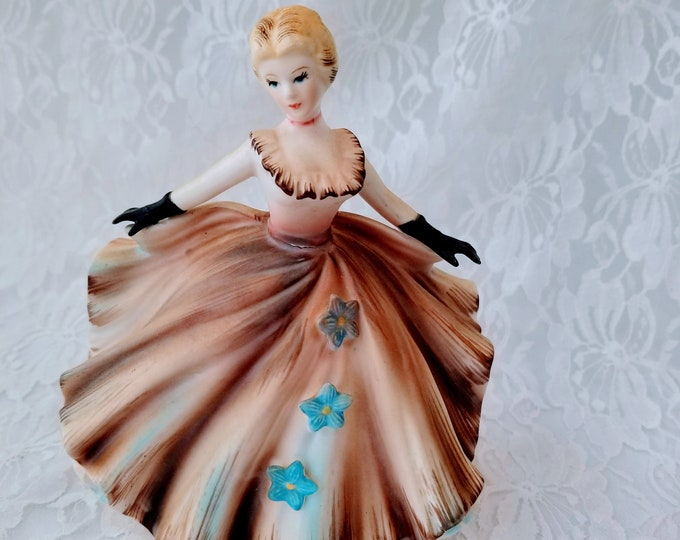 Amazing Fabulous Vintage Figurine Lefton Sticker Japan 1225A Figurine Lady with Swirling Ball Gown & Black Gloves