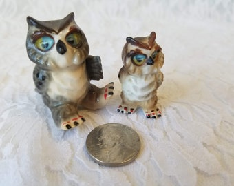 "Set of 2 Small Owls ~ 1.5"" Mom + 1.3"" Baby ~ Micro Miniature Porcelain Figurines Statue ~ Dollhouse Decor ~ Fairy Garden ~ Terrarium Filler"