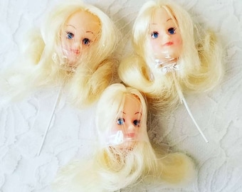 Set of Three (3) Vintage Barbie Doll Clone Heads On A Stick ~ Japan ~ Never Opened ~ Cake Toppers ~ Doll Making ~ Doll Parts ~ Party Favors