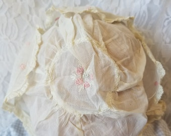 Antique French Victorian Sheer Cotton Baby Bonnet ~ Handmade Early 19th Century with Delicate Embroidery and French Lace, Pintucks