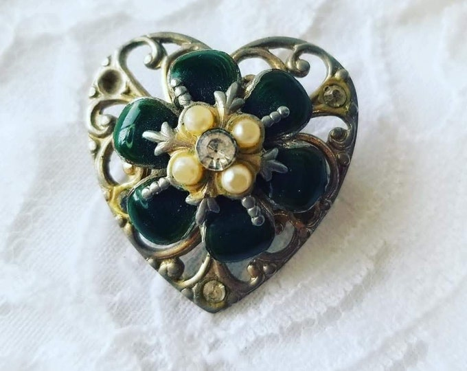 Victorian Rhinestone Seed Pearl Heart Brooch ~ Filigree ~ Enamel Petals ~ Signed Cora ~ Art Nouveau Style ~ As-Is ~ Missing One Rhinestone