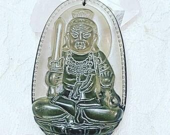 """Ice Obsidian """"Manjushri"""" Guanyin Bodhisattva Buddha Amulet Pendant ~ Healing Stone Necklace ~ Celestial Energy"""