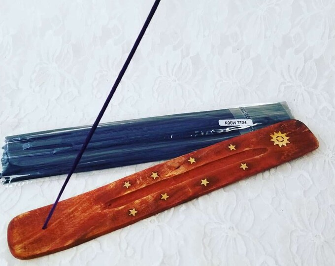 Wood Moon and Stars Incense Burner ~ Incense Holder ~ Holds 1 Stick ~ Temple Incense Burner ~ Comes with 1 Pack Incense