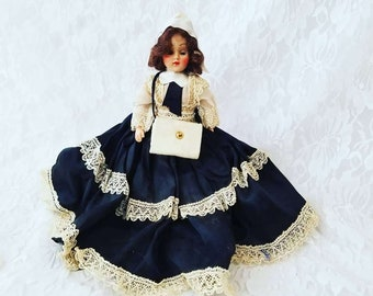 """Antique French 8"""" Doll Mohair Sleepy Eyes Satin Dress Molded Shoes Dress Me Doll 1950s Dolls of the World? Duchess? Sold As-Is"""