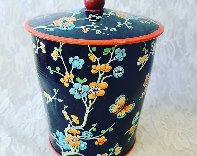 "Large English Tea Tin ~ Made in England ~ Canister ~ Unique Trinket Box ~ 6"" by 5.25"" Metal Container"
