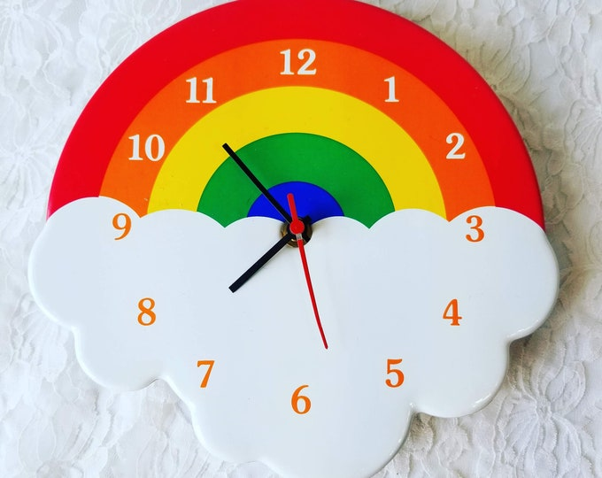 Retro Puffy Vinyl Rainbow Wall Clock ~ Needs Batteries ~ Sold As-Is ~ LGBTQ ~ Gay Wedding Gift