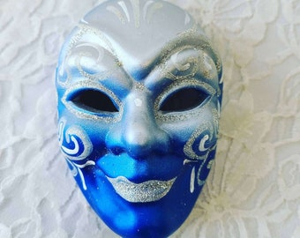 Art Deco New Orleans Harlequin Porcelain Mask ~ Hand Painted Porcelain ~ Creepy Energy ~ Wall Hanging