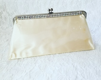 Vintage 1950's Off-White Jeweled Clutch Purse Handbag ~ Aurora Borealis Rhinestones ~ Clear Plastic over Satin!