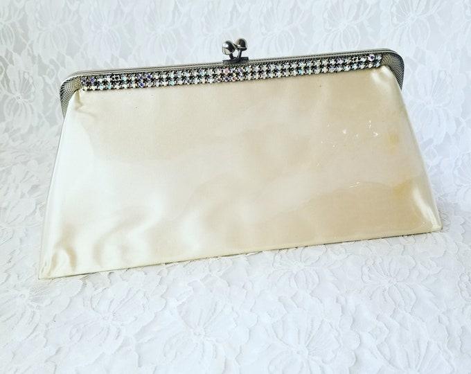 Vintage 1950's Off-White Jeweled Clutch Purse Handbag ~ Aurora Borealis Rhinestones ~ Clear Plastic over Satin!