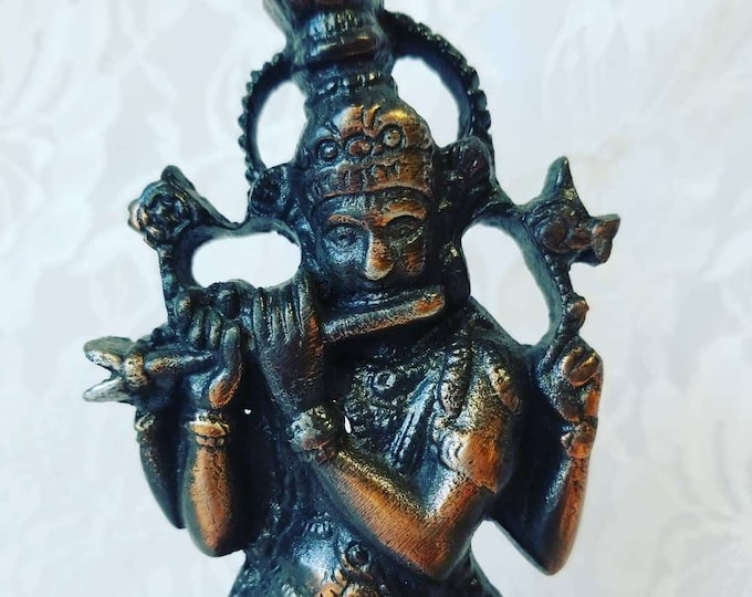 """Antique Solid Brass Ganesha Hindu God of Wisdom, Success and Good Luck ~ India ~ Size 8.5"""" ~ Altar ~ House Blessing"""