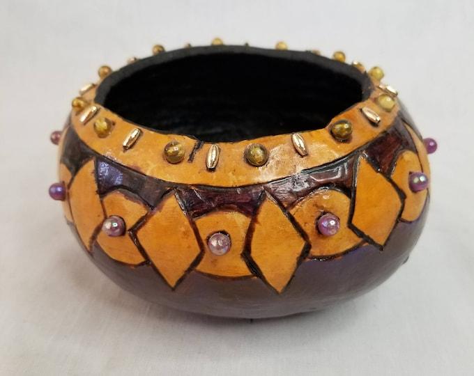 "Artist Made Tribal Gourd Bowl ~ Hand Painted BEADED Gourd ~ Signed ""Flo"" ~ Tribal ~ Geometric ~ Home Decor ~ Altar Piece"