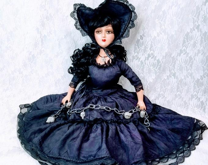 "No Reserves Skjálf Haunted Doll ~ 28"" Antique 1920s Composition Boudoir Doll ~ Paranormal ~ Norse Sorceress ~ Oracle ~ Seiðrmagick"