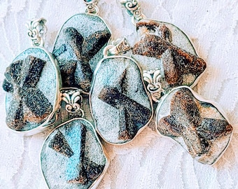 """Choose One! Amazing Staurolite (Fairy Cross Stone) 925 Sterling Silver Necklace ~ 20"""" Sterling Silver Chain ~ Faerie Magick!"""
