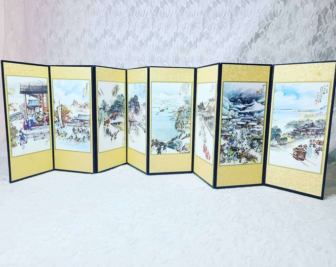 """Rare 28"""" by 8.25"""" Japanese Hand Painted Art Scene and Calligraphy Vintage Folding Screen KIN-BYOUBU For Hina Doll Display or Dollhouse"""