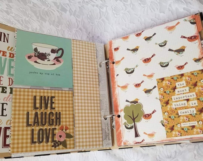 HANDMADE Simple Stories Album Premade BLANK 9x8 Binder Scrapbook ~ Family Album Finished Pages, Pockets, Etc Includes Extra Paper, Stickers