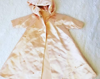 Amazing 1950s Pink Satin Hooded Dress Coat Jacket for Vintage Doll ~ Will Fit Fashion Dolls ~ Miss Revlon Etc ~ For Slender Taller Dolls
