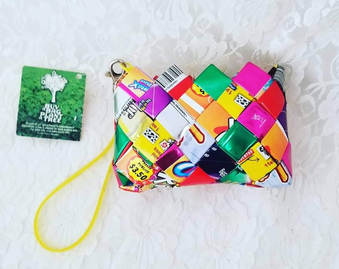 1990s Repurposed Candy Wrapper Purse ~ Upcycled Clutch with Zipper ~ Eco Friendly Recycled Candy Wrapper Make Up Bag ~ New Old Stock