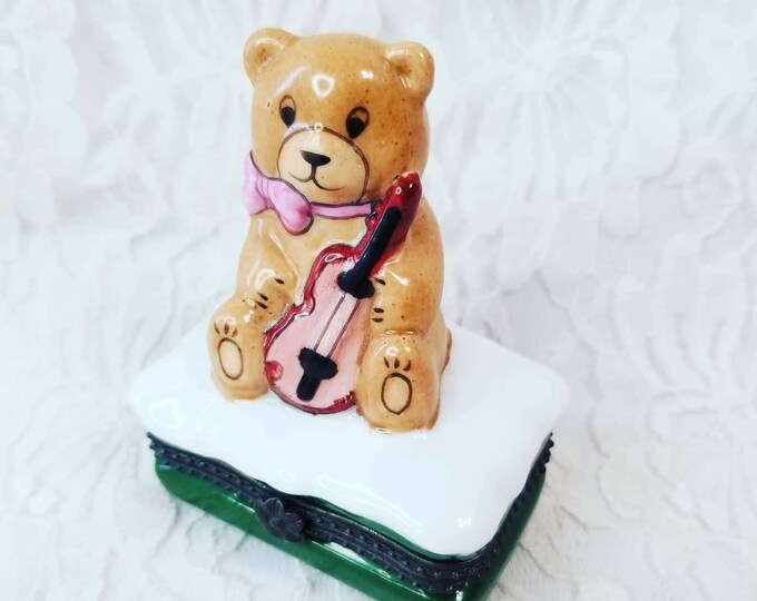 Trinket Box ~ Teddy Bear with Violin ~ Gift for Musician or Child ~ Small Box ~ Enameled Hinged Lid