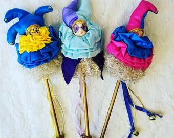 Set of Three (3) Vintage Creepy Doll Head Wands ~ Harlequin Jester Clown Mime on a Stick ~ Mardi Gras ~ Witches Stick ~ New Orleans