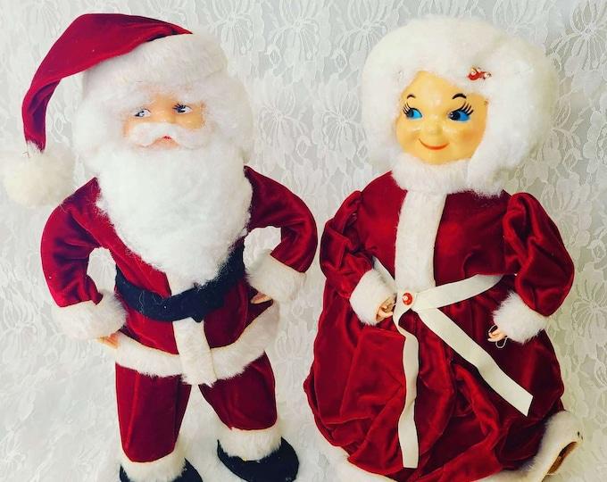 Vintage Kitschy Christmas Santa & Mrs. Claus ~ Bottle Doll ~ Red Velvet Dress ~ Holiday Décor ~ Creepy Christmas ~ Holiday Decoration