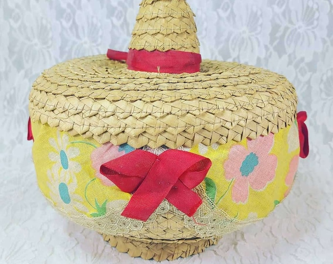 Antique 1940s Mexican Woven Tortilla Warmer Basket with Lid ~ Fabric Lined, Original Ribbons ~ Made in Mexico