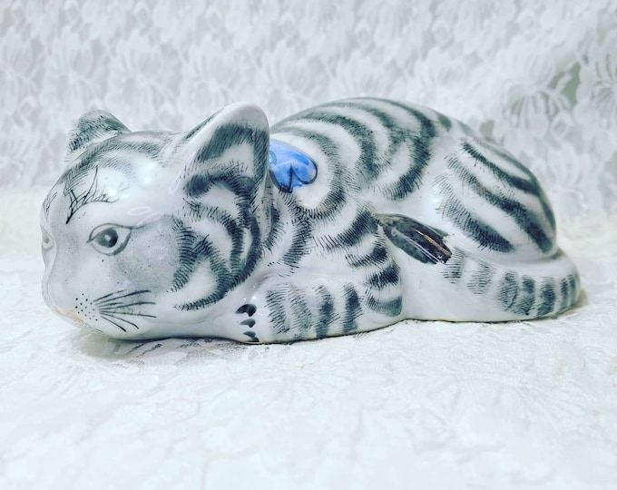"""Intricate Hand Painted Chinese Chinoiserie Sleepy Cat Ceramic Figure Soft Grey Colors ~ Porcelain Striped Cat Statue Figurine 8.25"""" x 3.5"""""""
