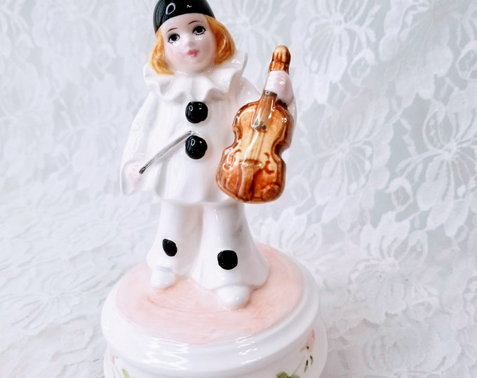Vintage Schmidt French Mime Music Box ~ Harlequin Jester Clown Mime with Violin ~ Does Not Play Music ~ Sold As-Is