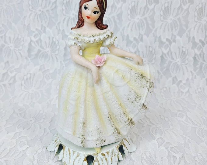 """Vintage Bisque Young Lady Night Light Portable Lamp Underwriters Laboratory Inc 7"""" Night Light ~ Needs Cord ~ As-Is ~ Issue 86-439"""