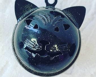 ONE (1) Destash Black Vampire Cat Bells ~ Halloween ~ Bell ~ Chime Bell ~ Craft Bells