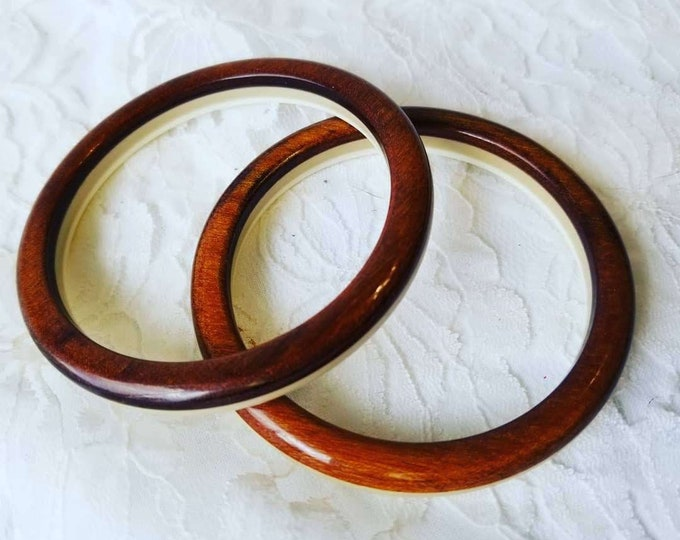Vintage Faux Wood Lucite Double Sided 1970s Bangle Bracelets ~ Set of Two (2) ~ Retro Jewelry ~ Vintage Jewelry