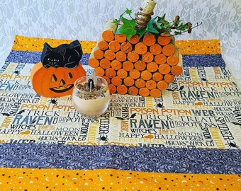 Handmade! Halloween Table Runner ~ Orange ~ Purple ~ Unique ~ Quilt Style ~ OOAK Fall Decor