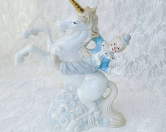 Unicorn Lladro Style Music Box ~ Porcelain Unicorn with Pierrot Clown ~ Plays Unknown Song