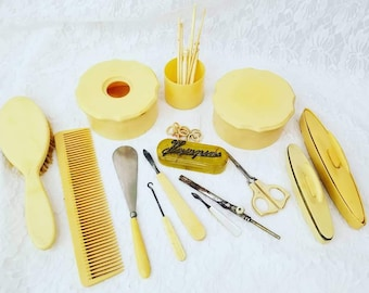 Antique Art Deco Vintage Celluloid Vanity Set ~ Bakelite Art Deco Dresser Set ~ Art Nouveau Vanity ~ 20+ Pieces ~ Must See All Pics