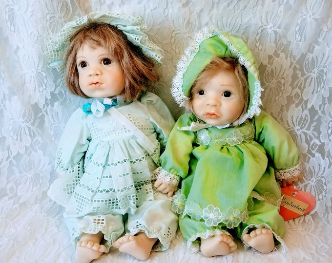 """Set of Two OOAK Handmade German 18"""" Baby Dolls ~ Sculpted Resin ~ Amazing Detail ~ Unique ~ Rare Dolls ~ Signed """"E.P. 1991"""" Must Read"""