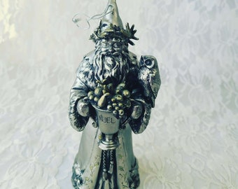 Vintage Metal Father Christmas Forest Wizard Christmas Ornament Santa Claus Pewter metal Silver and Bronze