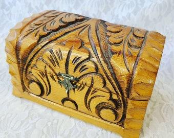 Vintage Triple Moon Carved Wood Trunk Box - Red Velvet Lined ~ Keepsakes Box ~ Spell box ~ Altar Box