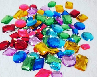 Huge Lot of Flat Backed Plastic Jewels Gemstones Rhinestones for Cosplay Crafts Collage Etc Mixed Sizes/Colors 25mm -45mm