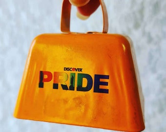 """Orange PRIDE Cowbell Large 3""""x2"""" Brass Crotal Bell ~ Cow Horse Camel Sleigh ~ LOUD Chime Bell ~ Altar Supplies ~ LGBTQ Witches Bell"""