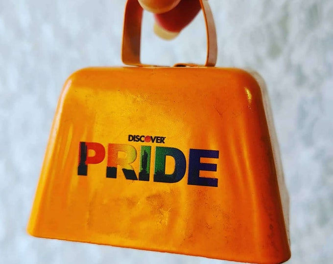 "Orange PRIDE Cowbell Large 3""x2"" Brass Crotal Bell ~ Cow Horse Camel Sleigh ~ LOUD Chime Bell ~ Altar Supplies ~ LGBTQ Witches Bell"