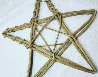 "Large Grapevine Wreath STAR Pentagram ~ 20"" by 20"" Vine Primitive Wreath ~ Wedding ~ Pagan ~ Altar Supplies ~ Door Wreath"
