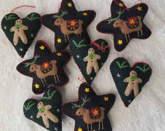 """Hand Embroidered Primitive Rustic Felt Cloth Ornament ~ Approx 3-4"""" ~ Sold Separately ~ Hearts with Gingerbread Men ~ Stars with Reindeer"""