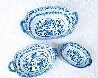 Set of 3 Traditional Qianlong Style Unmarked Blue & White Porcelain Baskets Decorative Pierced Pottery Baskets, Graduating Sizes As-Is