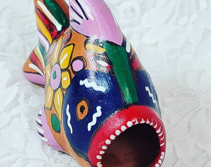 Mexico Painted Piranha Figurine Statue ~ Terracotta ~ Mexican Folk Art ~ Hand Painted ~ Tonala Pottery Mexico