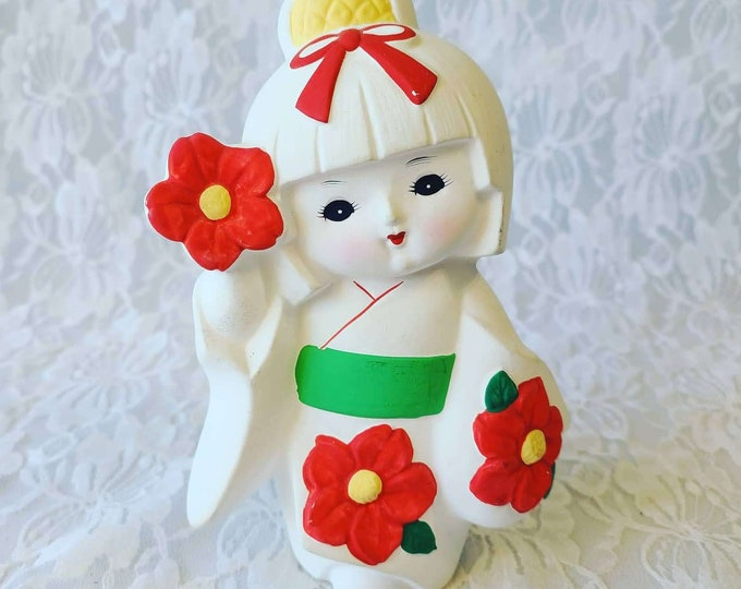 """Vintage Ningyō Doll ~ 5"""" Figurine ~ Made in Japan ~ Terracotta Statue Figurine ~ Japanese Traditional Clay Doll"""